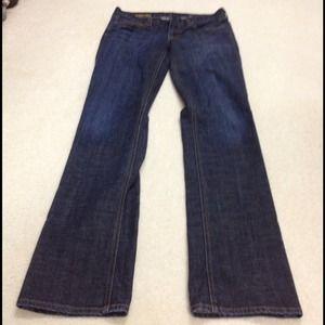 J. Crew dark wash Matchstick jeans.