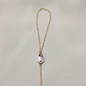 1 Gold Tone Oval Swarovski Hand Chain Bracelet