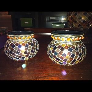 PartyLite glass mosaic tealight holders