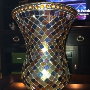 PartyLite glass mosaic pillar candle holder