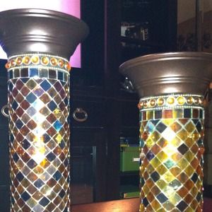 PartyLite glass mosaic pillar candle stands
