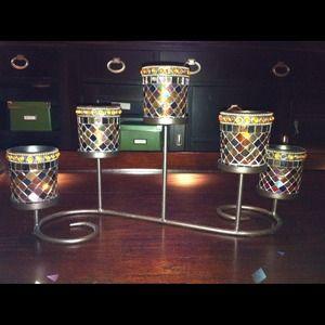 PartyLite glass mosaic tealight/votive candle stnd