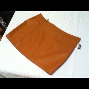 Brown faux leather skirt
