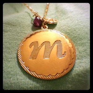"""Accessories - """"M"""" initial gold charm necklace"""