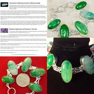 .925 Green Botswana Drusy Agate Snake Bracelet