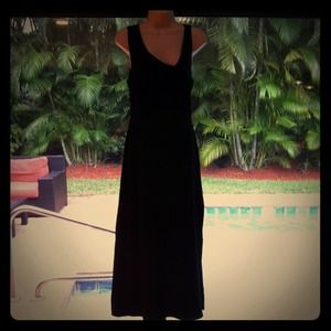 Asymmetrical black stretch dress
