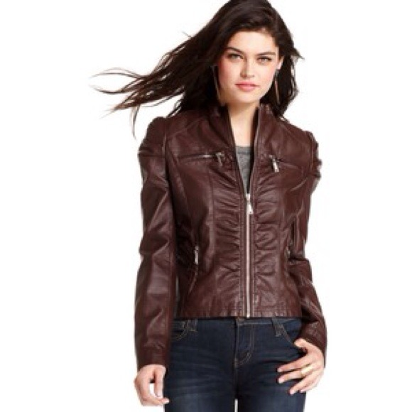 31% off Jou Jou Jackets & Blazers - Brown Vegan Leather Moto ...