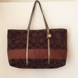 Coach brown/bronze signature stripe tote