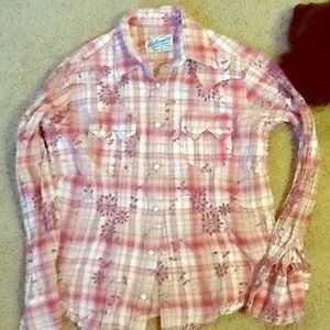 Tops - Pink plaid cowgirl shirt
