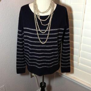 Vince Metallic Stripe Sweater