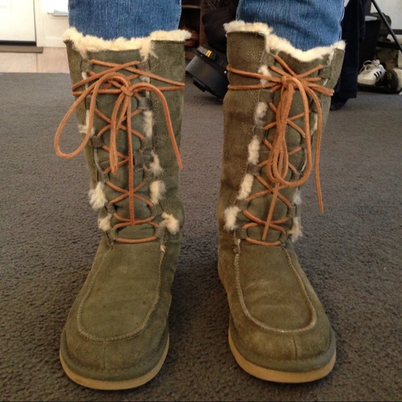 Authentic Army Green Lace Up UGGs