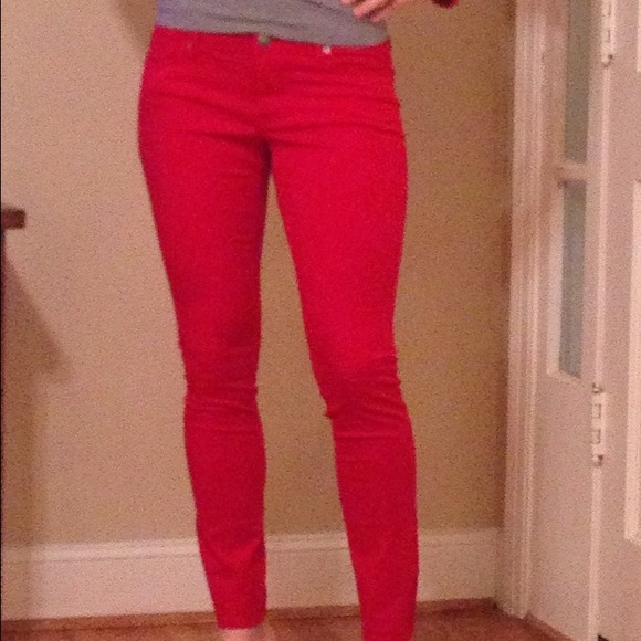 Red skinny jeans size 10