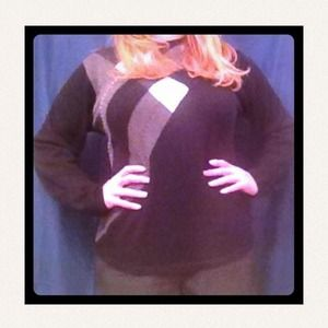 Black, grey and ivory argyle sweater