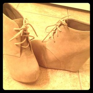 Tan suade wedge booties