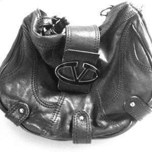 Authentic valentino black leather shoulder bag