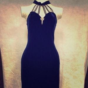 Dresses & Skirts - Reduced!  Navy blue vintage velveteen maxi dress.