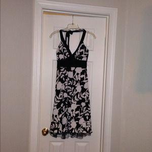 Halter black and white dress