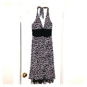 Halter black and white dress.