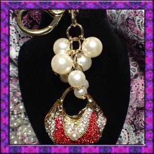 Accessories - 👜Red & White Crystal Pearl Handbag Purse Charm🌟