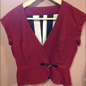 Kelly Lynne Jackets & Coats - Red Wool Vest