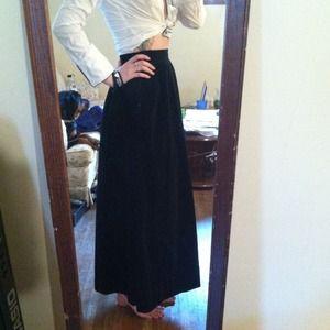 Vintage Black Velvety Full Length Skirt
