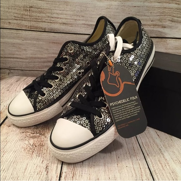 8b1aa5fc302f Converse Shoes   Chuck Taylor Striped Sequin Ox Sneakers   Poshmark