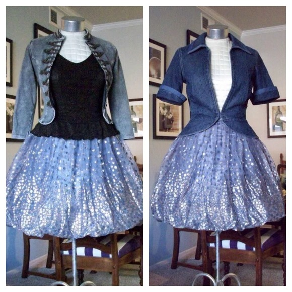 Vintage Dresses & Skirts - Vintage silver gold glitter bubble skirt XS / S