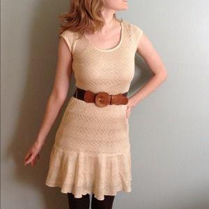 White knit dress and belt