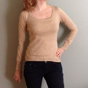Hi-lo hem confetti knit ivory sweater