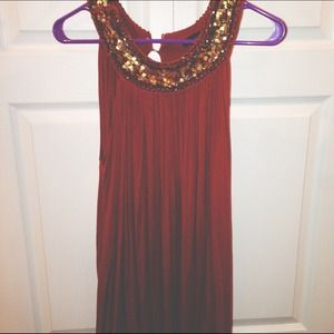 Forever 21 Tops - Rust Sleeveless Tunic with Golden Details