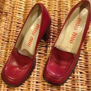 Miu Miu- Prada Red Loafer Pumps