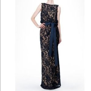 Dresses & Skirts - •PRICE REDUCED•Tadashi Shoji navy embroidered gown