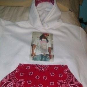 Custom sweat shirt and white tee