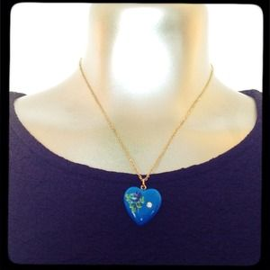 blue painted heart necklace