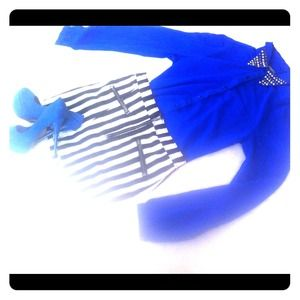Studded long sleeve, stripped skirt, blue pumps