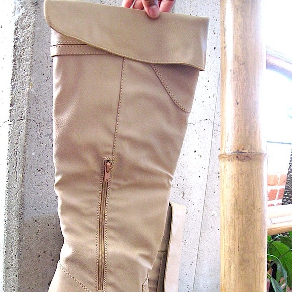 51% off Gomax Boots - Cream over the knee Boots size 10M - off ...