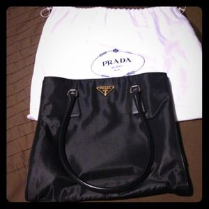AUTHENTIC, PRADA GOLD LOGO TOTE, LEATHER HANDLE