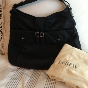 NWT black leather JCrew Bronwyn hobo purse