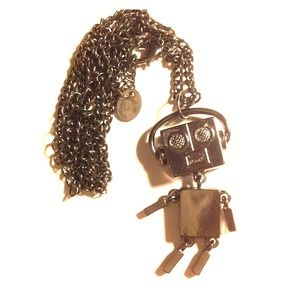 **RESERVED Cool long chain music robot necklace