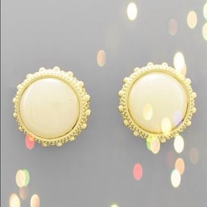 SoldRound Bead Ivory & Gold Tone Post Earrings