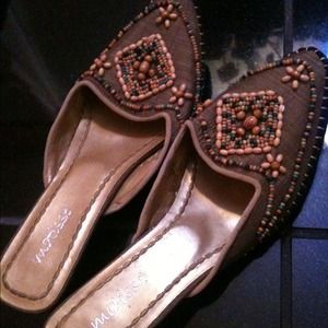 New..Fabulous designer beaded heels, size 10.