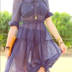 Dresses & Skirts - RESERVED Polka Dot Dress in Navy