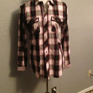 Guess black, pink, and silver plaid shirt