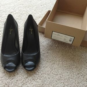 Cole Haan Margot Black Peep Toe Heels Pumps Shoes