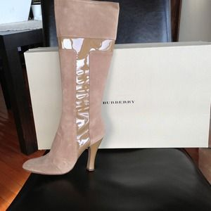 Burberry London suede and patent boots.