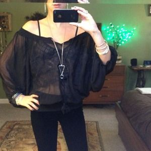 Tops - Slouchy shear black embroidered shirt