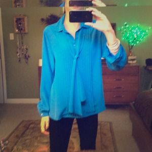 Tops - 80's shiny blue fun shirt