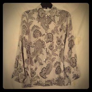 CHAUS Pearl Grey Paisley blouse
