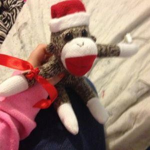 christmas sock monkey plush