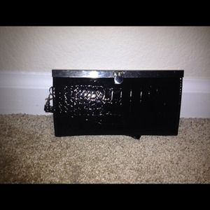 Black faux snake skin clutch
